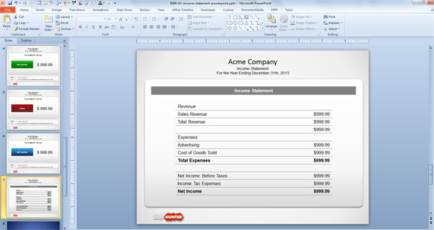 Free Free Income Statement PowerPoint Template - Free PowerPoint - income statement template