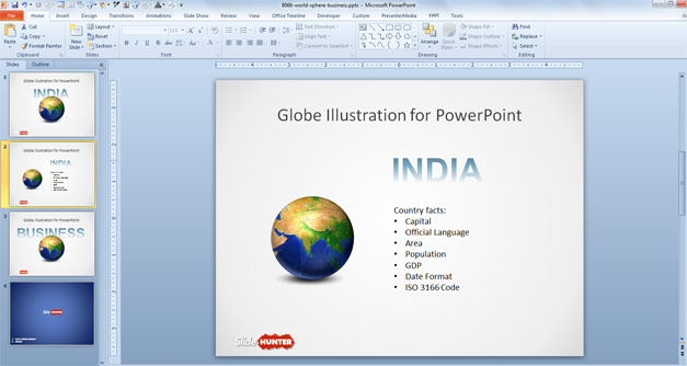 Free Business Earth Globe Concept Slide for PowerPoint - Free