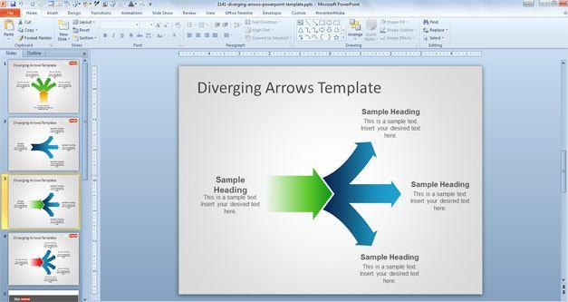 Free Diverging Arrows PowerPoint Template - smartart powerpoint template