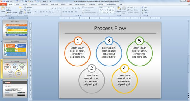 Simple Process Flow Template for PowerPoint - flowchart template