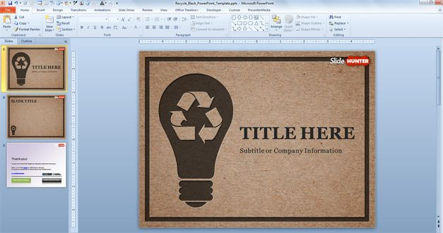 Free Recycle PowerPoint Template (Black) - Free PowerPoint Templates - recycling powerpoint templates