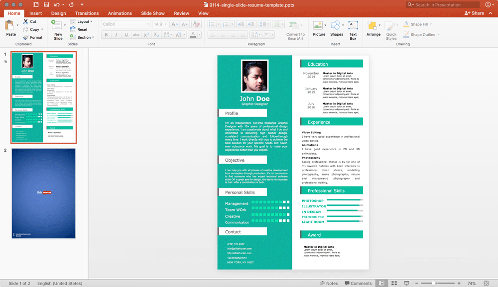 How To Make A Visual Resume With Powerpoint In 3 Steps Free Single Slide Resume Template For Powerpoint Free