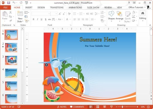 Animated Summer PowerPoint Template - summer powerpoint template