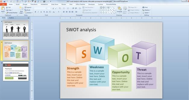 Free SWOT PowerPoint Template with Human Silhouette - Free