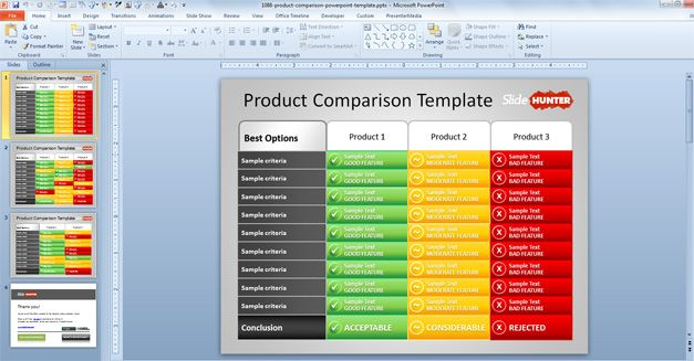 Free Product Comparison PowerPoint Template - free comparison charts templates
