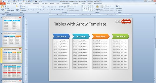 Free Tables with Arrow PowerPoint Template - Free PowerPoint