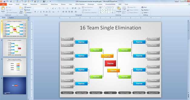 Free Tournament Brackets Template for PowerPoint - Free PowerPoint