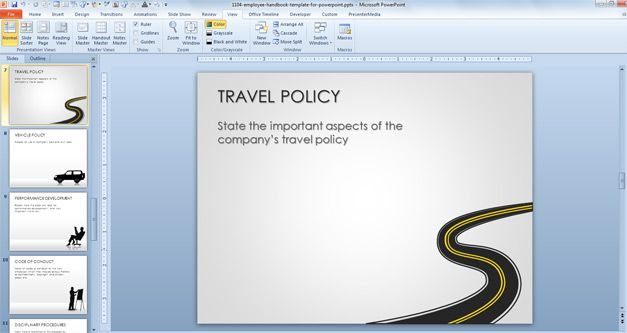 Free Employee Handbook Template for PowerPoint - Free PowerPoint - travel policy template