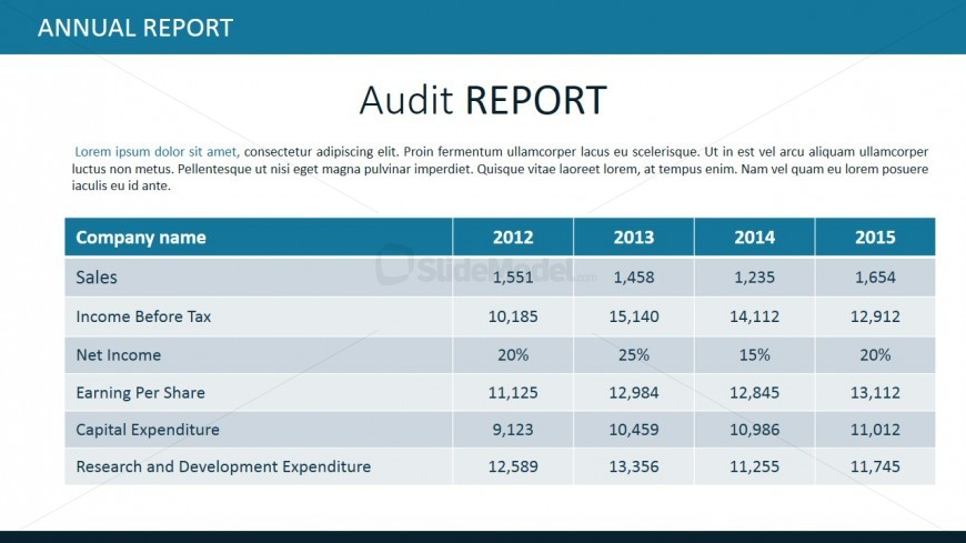 PowerPoint Table for Audit Report - SlideModel