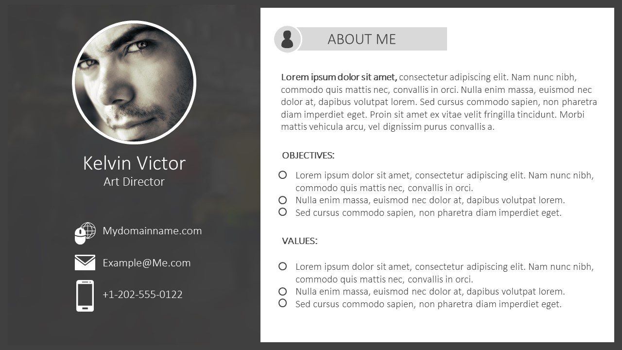 filetype ppt cv template