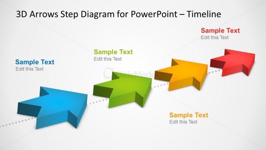 4 Milestones Timeline Template with 3D Arrows in PowerPoint - SlideModel