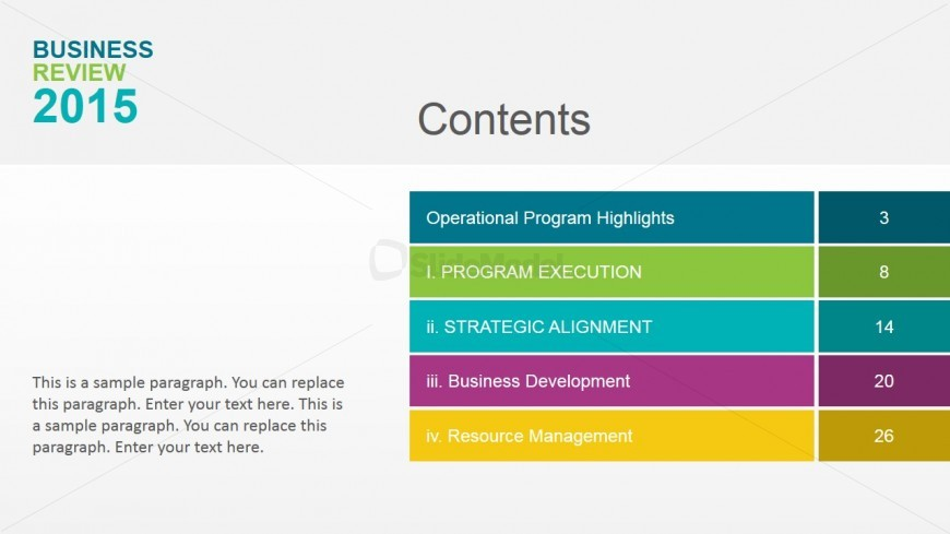 Table of Content of Annual Business Review - SlideModel - business review template
