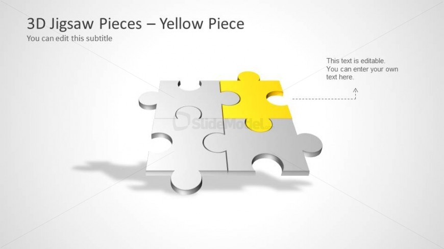 Four Puzzle Piece Template for PowerPoint \u2013 Yellow Piece - SlideModel - puzzle piece template