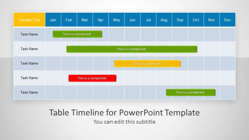 Table Timeline Template for PowerPoint - SlideModel - timeline template