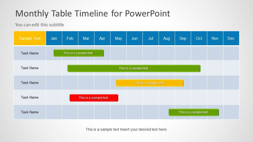 Table Timeline Template for PowerPoint - SlideModel