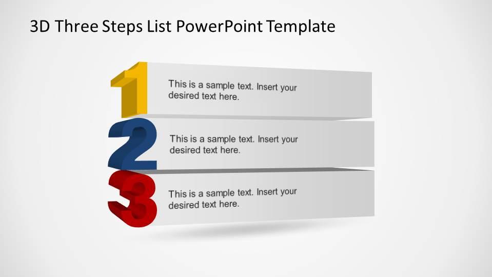 3D Three Steps List PowerPoint Template - SlideModel - 3d powerpoint template
