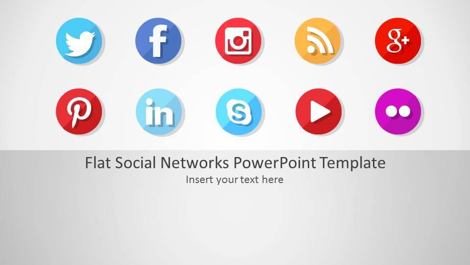 Flat Social Networks PowerPoint Template - SlideModel