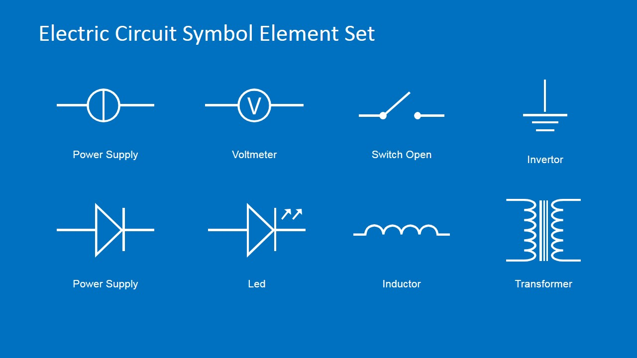 Wire Symbol Circuit Electric Circuit Symbols Element Set For Powerpoint
