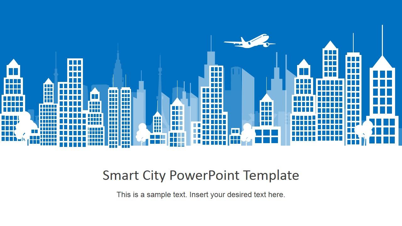 Blue Sky 3d Wallpaper Smart City Powerpoint Template Slidemodel