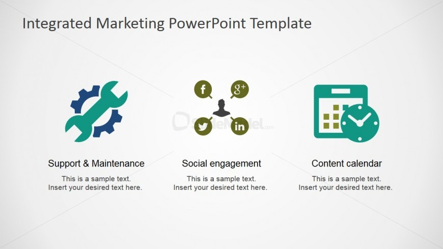 Social Engagement and Content Calendar PowerPoint Clipart - SlideModel - sample power point calendar