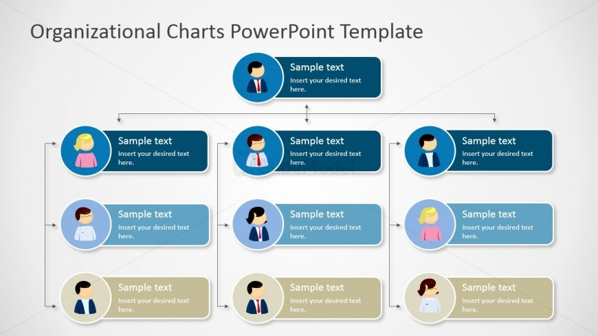 Four Levels Tree Organizational Chart for PowerPoint - SlideModel