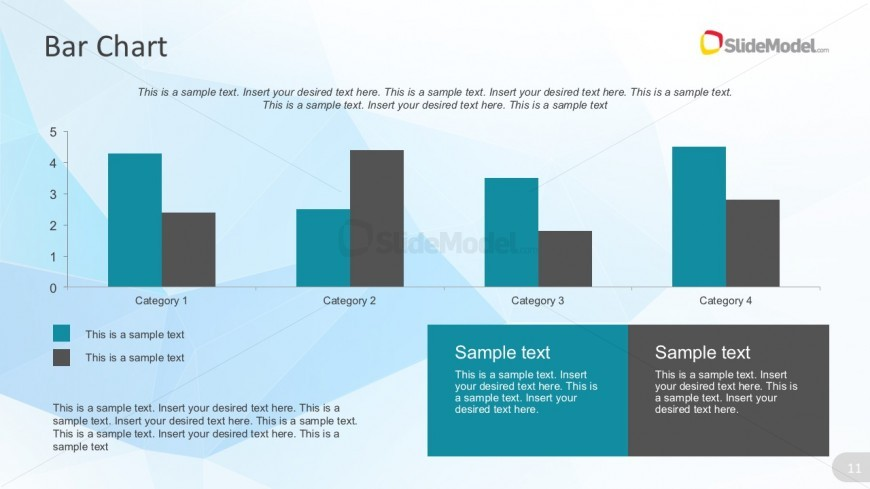 Flat Bar Chart Design With Blue Template Background - SlideModel