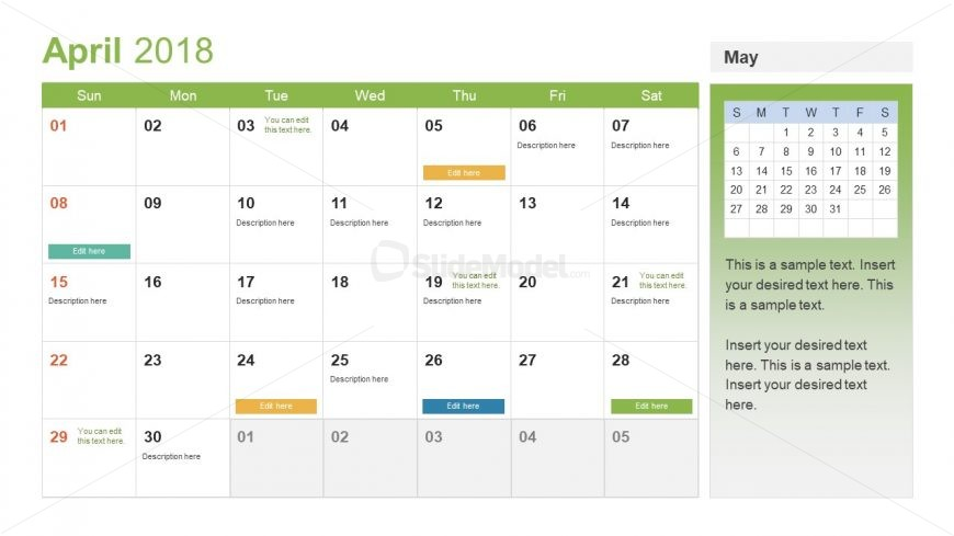 Event Planning Calendar Template - SlideModel