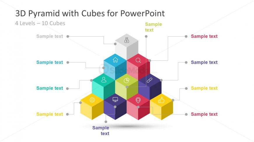 Hierarchy of Pyramid Template in 3D Cubes - SlideModel