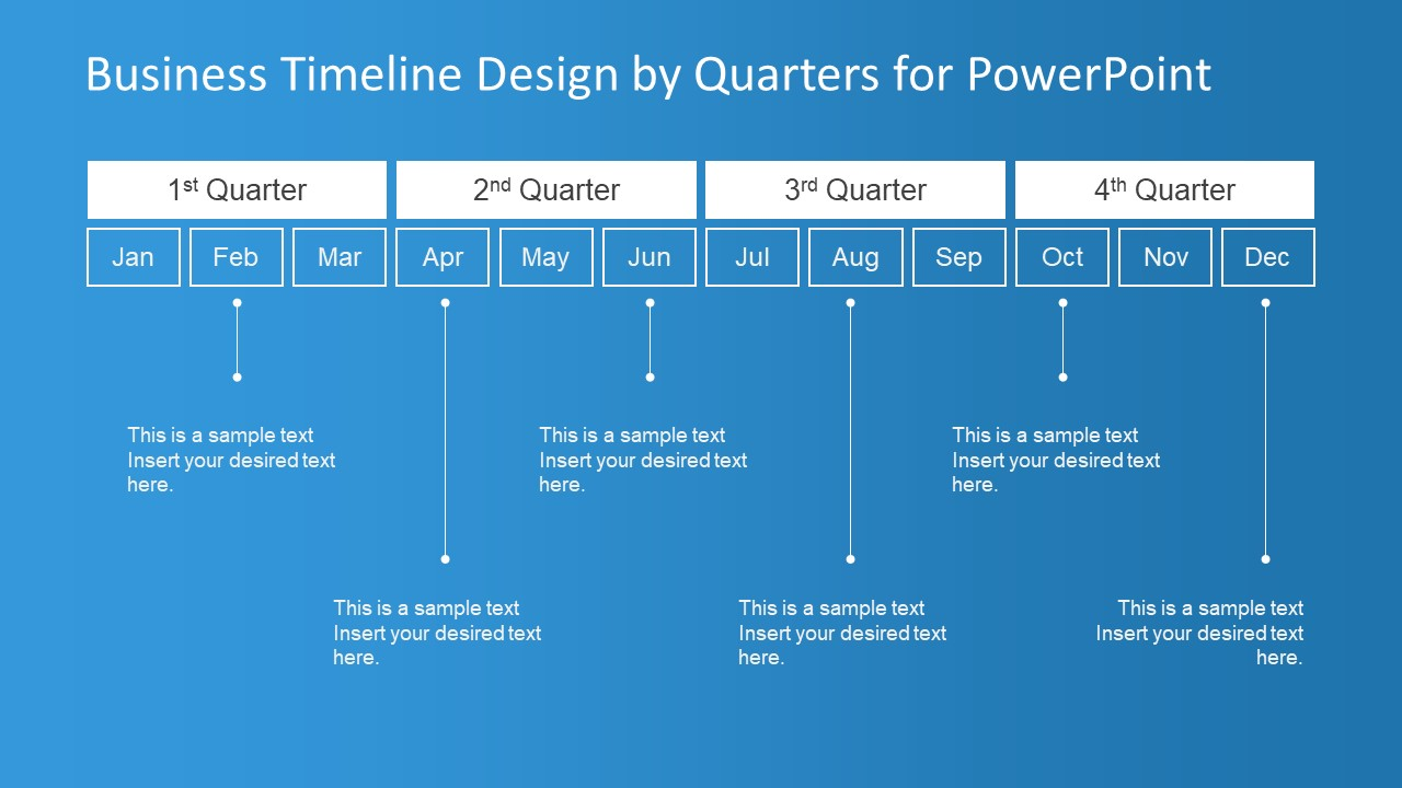 Timeline Design Business Timeline Design By Quarters For Powerpoint