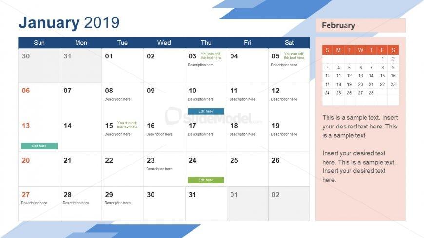 January PowerPoint Calendar 2019 - SlideModel