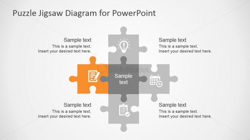 Five Steps Jigsaw Puzzle PowerPoint Template - SlideModel - puzzle powerpoint template