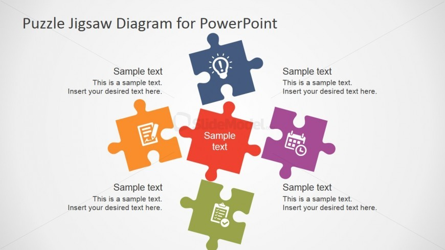 5 Piece Puzzle Template for PowerPoint - SlideModel