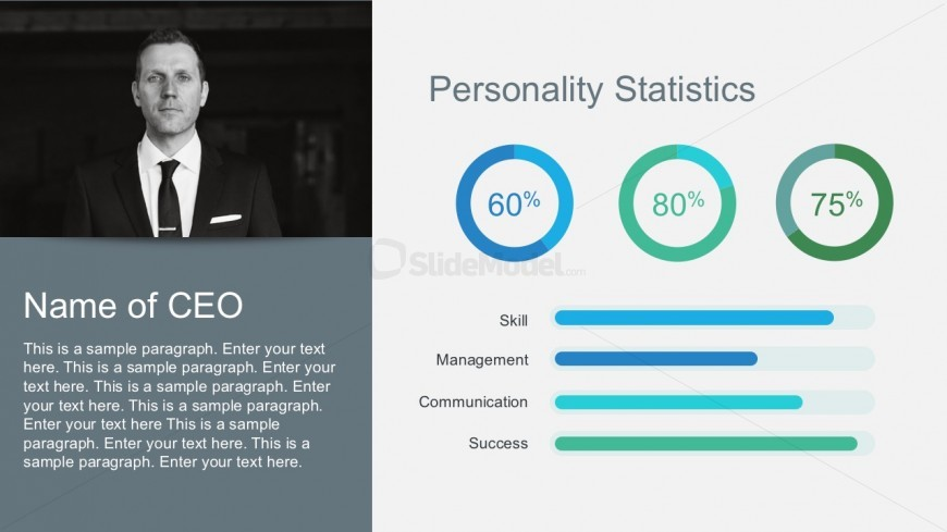 Free Company Profile Statistics with Percent Charts - SlideModel - free profile templates