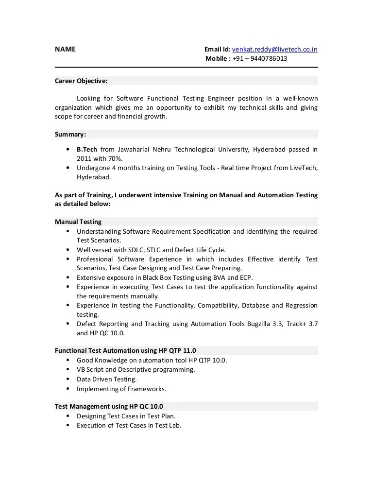 qtp resume sample - Funfpandroid - manual testing resume format