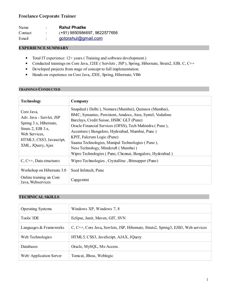 job description corporate trainer - Onwebioinnovate