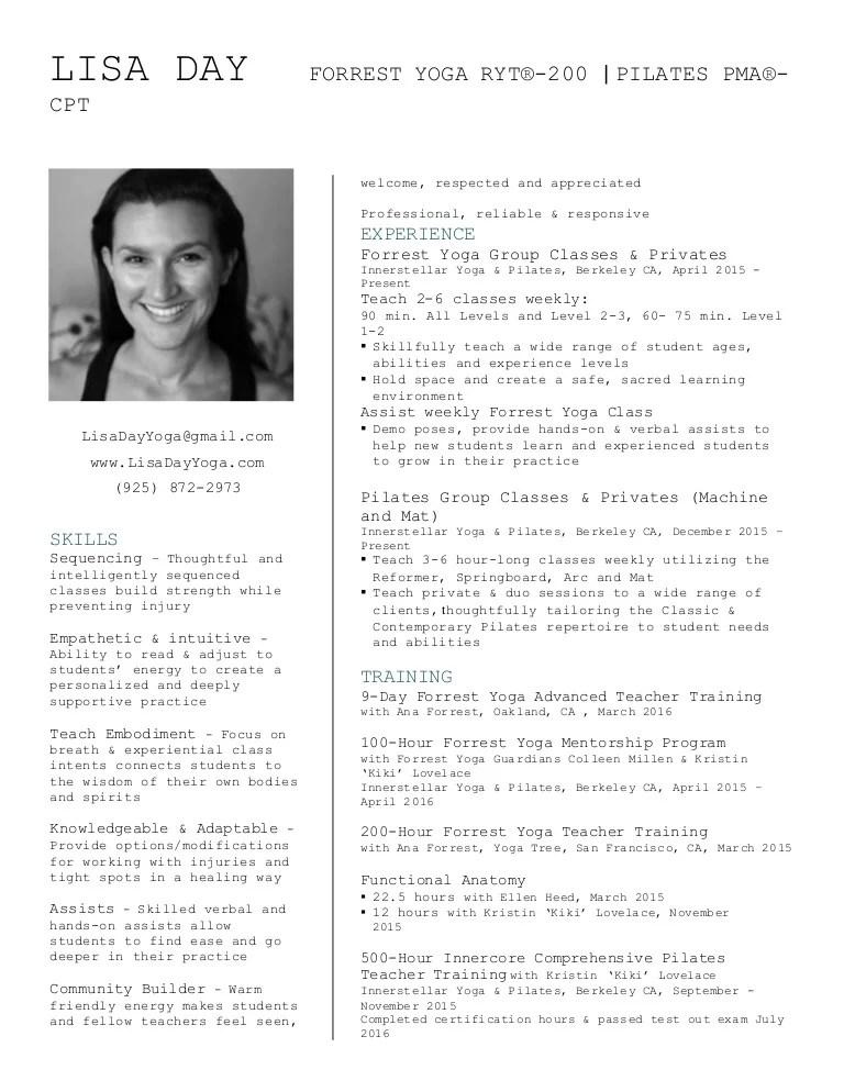 Pilates Trainer Resume - Contegri - yoga instructor resume