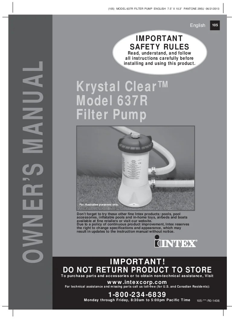 Sandfilter Pool Anleitung Bestway Krystal Clear Model 637r Filter Pump Manual For Intex And Bestway Swi