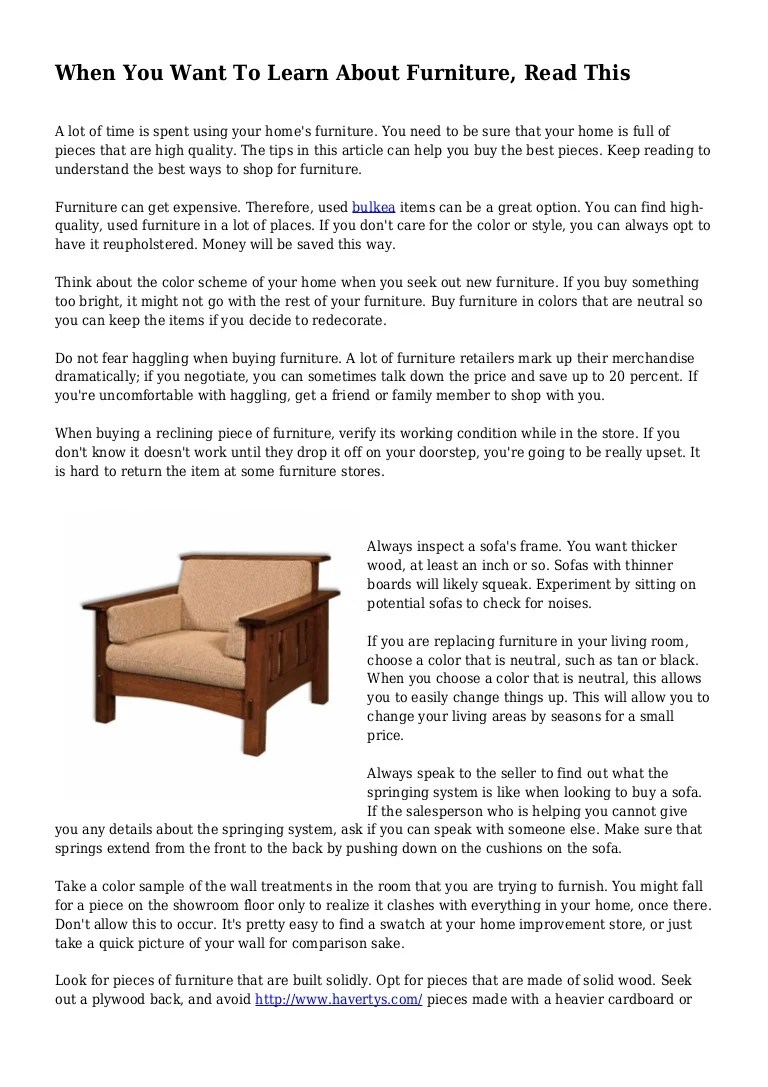 When You Want To Learn About Furniture Read This