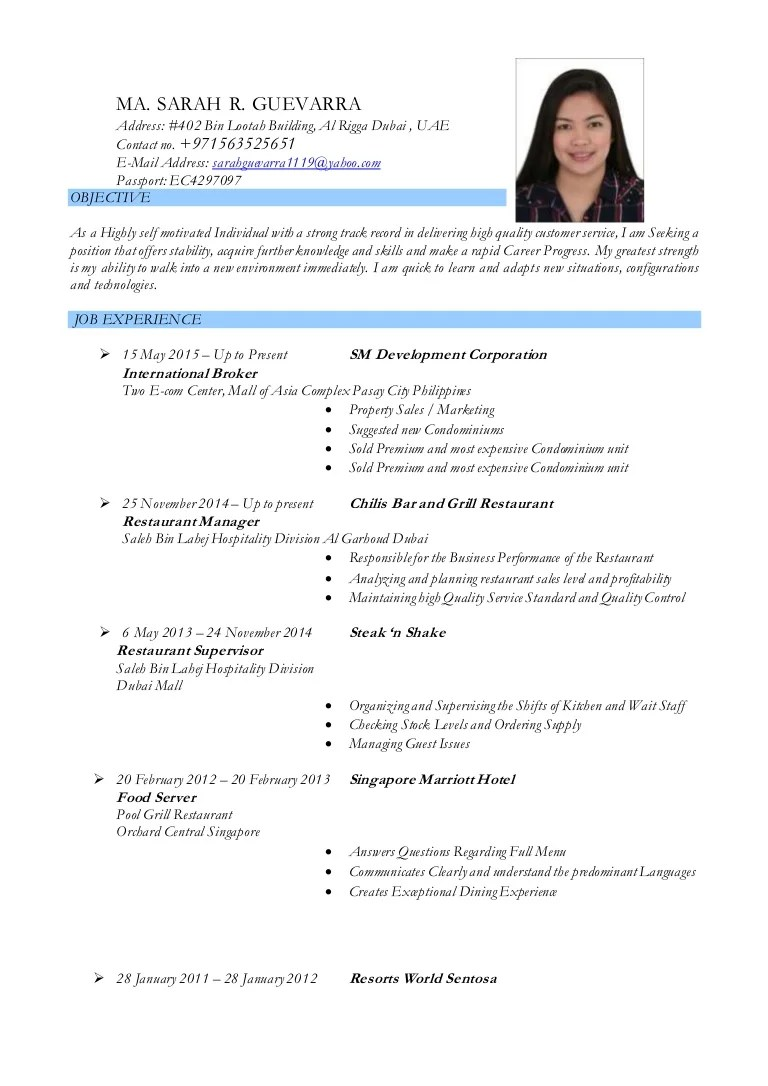 resume for hotel application