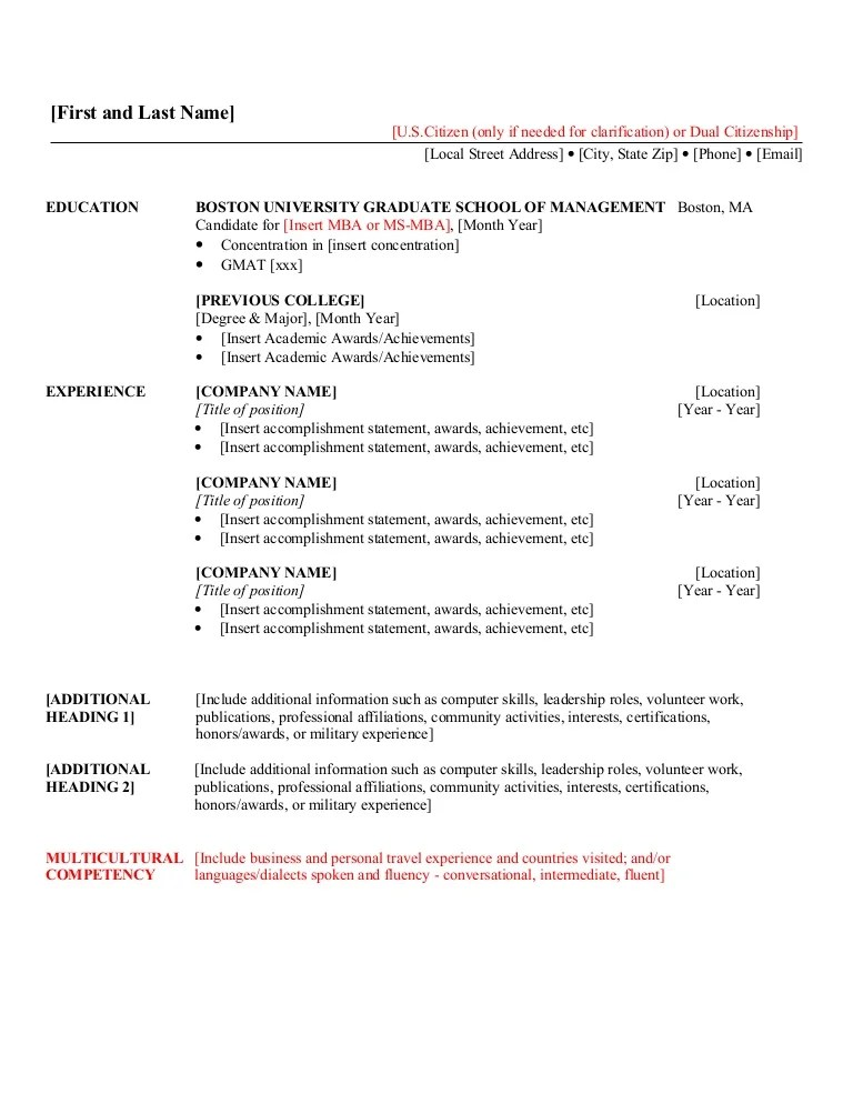 resumes for mba