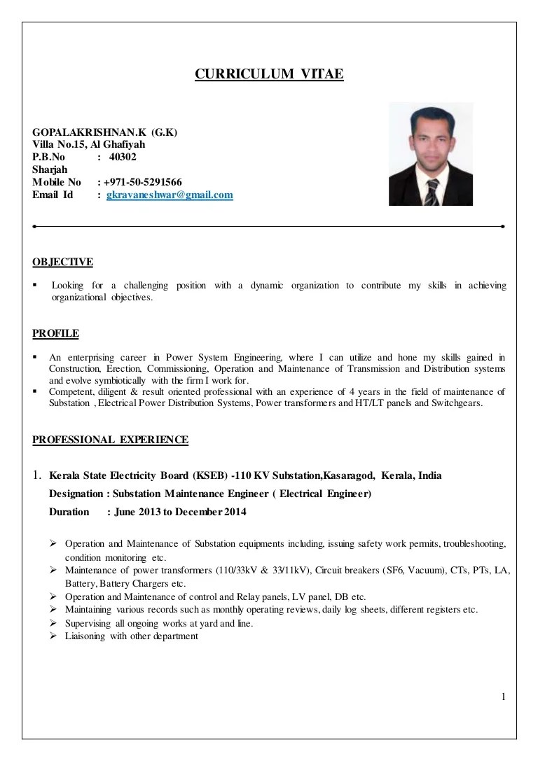 cv english electrical engineer