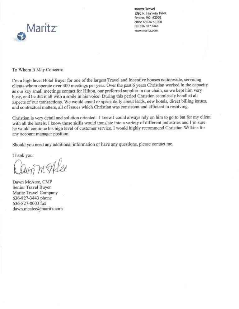 christian recommendation letter