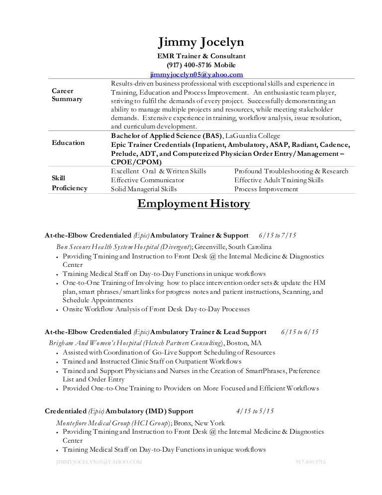 emr consultant sample resume professional emr consultant