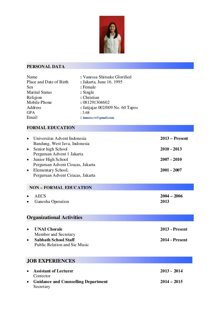 Linked In Resume Cv - Vanessa Shitsuke Glorified