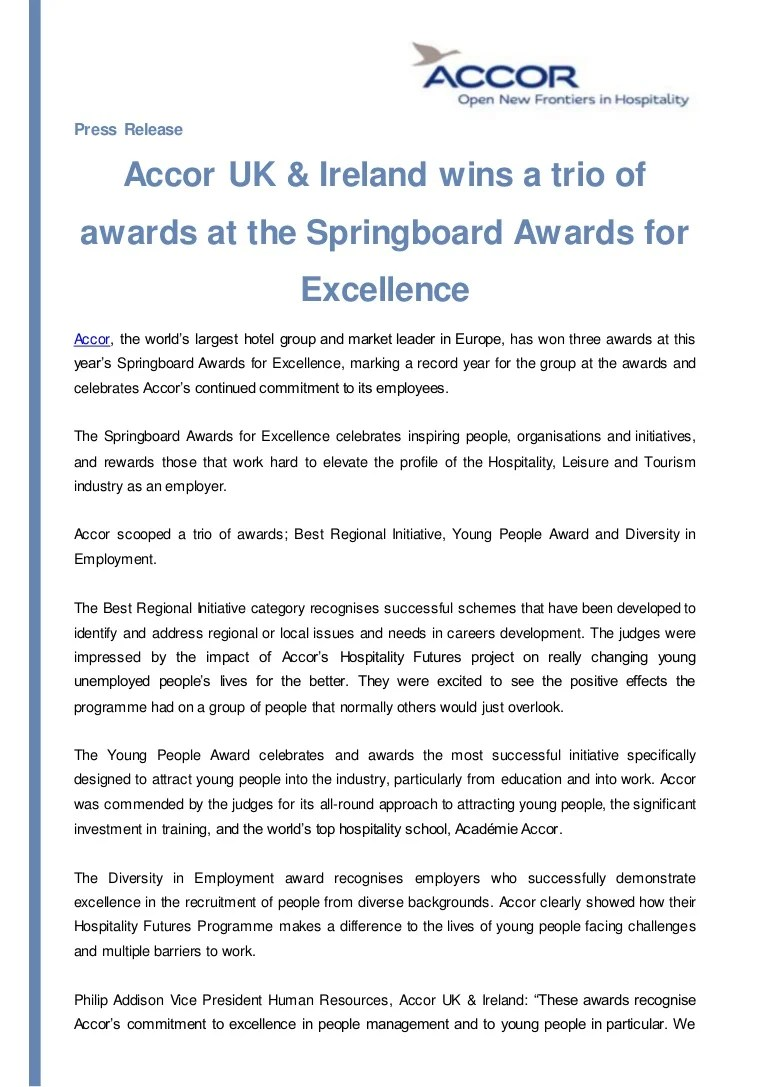 Accor Group Press Release Accor Wins Three Awards At Springboards Awards For Exc