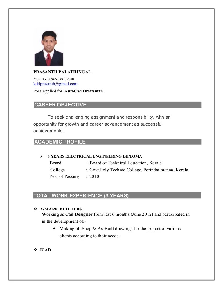 cad cv - Intoanysearch - draftsman resume sample