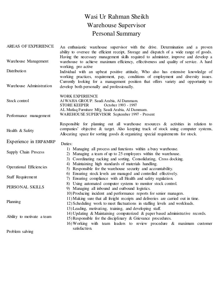 resume objective examples for warehouse supervisor