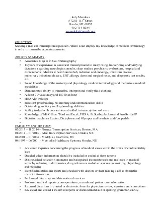 medical transcription resume - Maggilocustdesign - medical transcription resume
