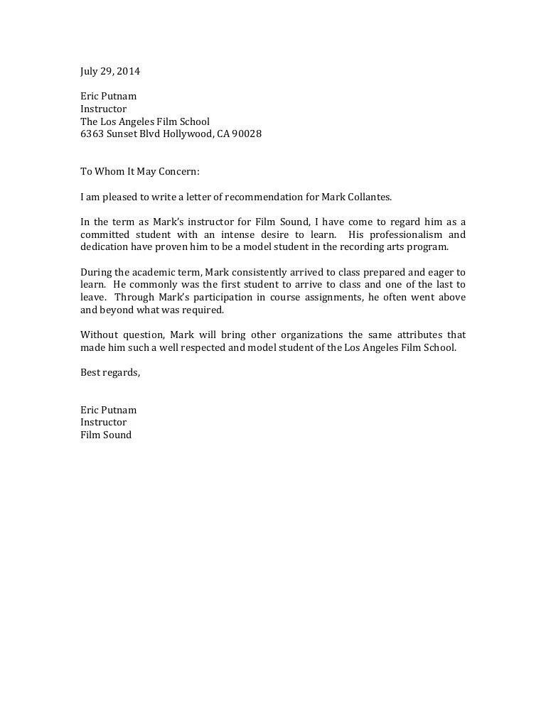 recommendation letter english