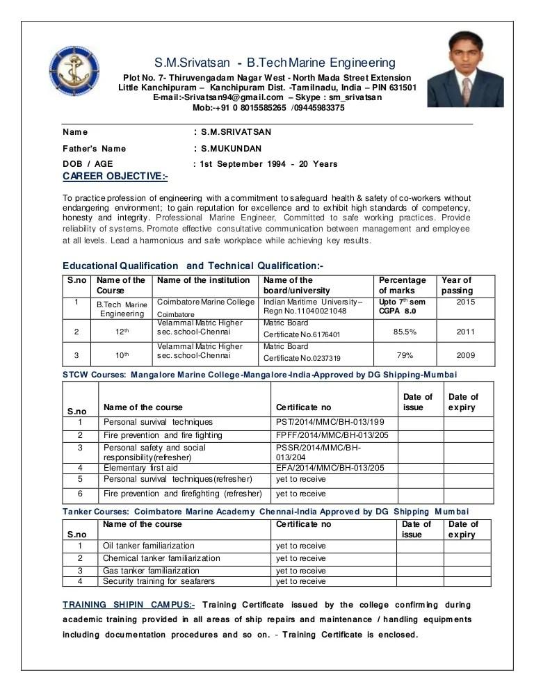 marine resume format - Selol-ink